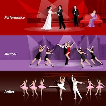 Banners horizontales conjunto de personas de teatro en el ballet musical y el rendimiento