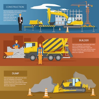 Banners horizontales de construcción establecidos con el proceso de creación de instalaciones de trabajo de los constructores volcado aislado