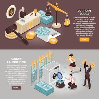 Banners horizontales de corrupción con información de texto sobre robo de dinero público y jueces corruptos isométricos