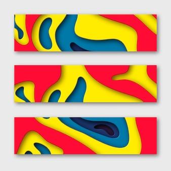 Banners horizontales de corte de papel 3d.