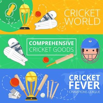 Banners horizontales de cricket planos