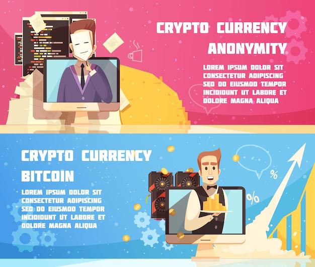 Banners horizontales de criptomonedas