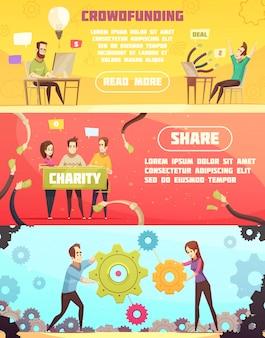 Banners horizontales de crowdfunding