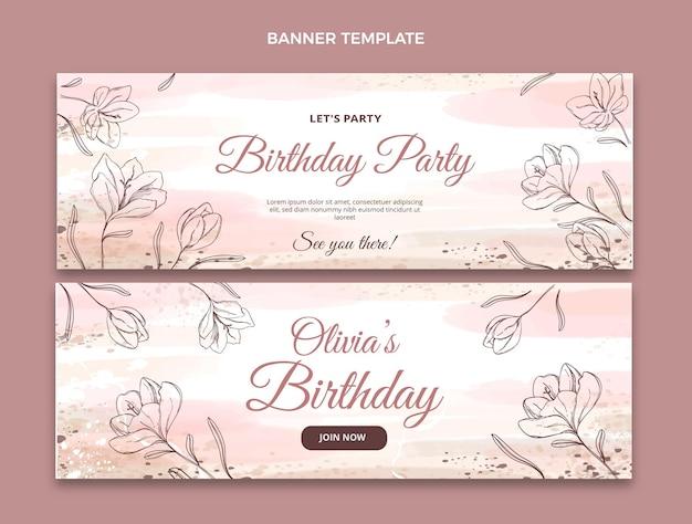 Banners horizontales de cumpleaños dibujados a mano en acuarela