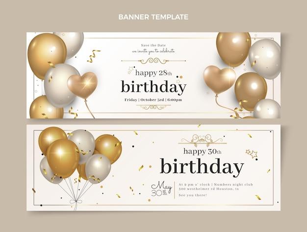 Banners horizontales de cumpleaños dorado de lujo realista