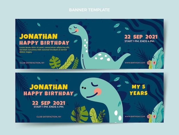 Banners horizontales de cumpleaños infantiles dibujados a mano