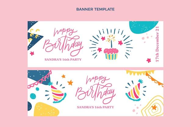 Banners horizontales de cumpleaños mínimo de diseño plano
