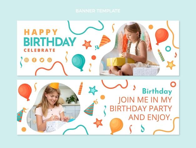 Banners horizontales de cumpleaños de mosaico de diseño plano
