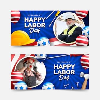 Banners horizontales degradados del día del trabajo con foto