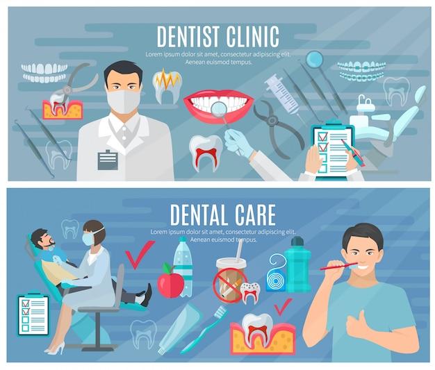 Banners horizontales dentista con símbolos de clínica y cuidado dental