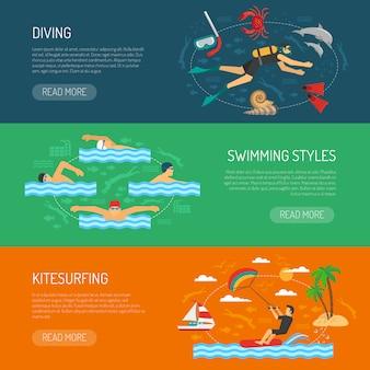 Banners horizontales de deportes acuáticos