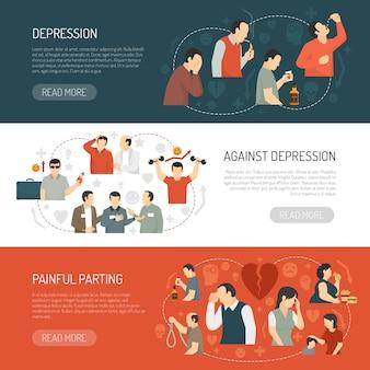 Banners horizontales de depresión