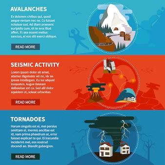 Banners horizontales de desastres naturales