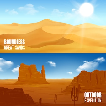 Banners horizontales del desierto