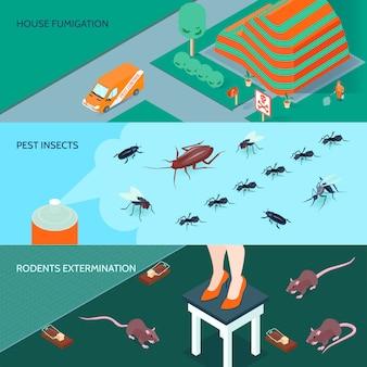 Banners horizontales de desinfección doméstica con métodos de exterminio de insectos y roedores 3d isométrico ilustración vectorial aislado