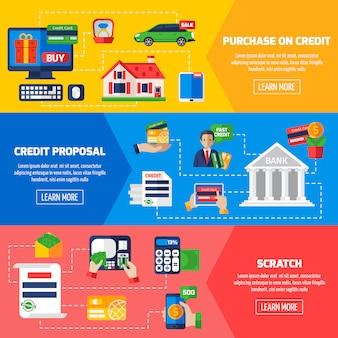 Banners horizontales de deuda crediticia