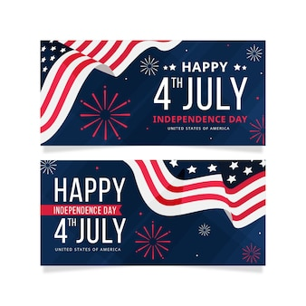 Banners horizontales del día de la independencia
