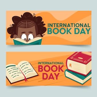 banners horizontales del día mundial del libro dibujados a mano