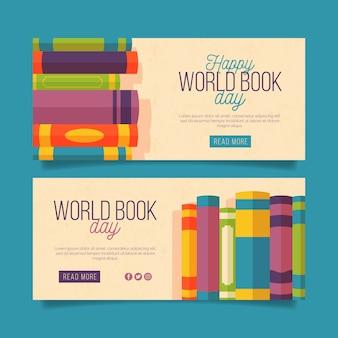 Banners horizontales del día mundial del libro