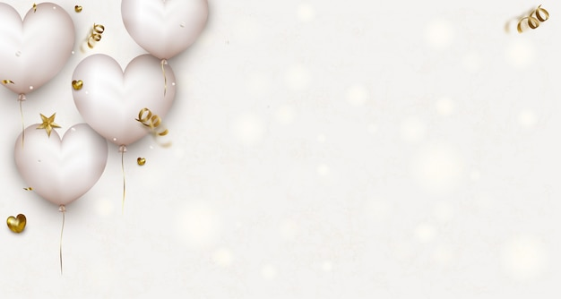 Banners horizontales del día de san valentín con lindos corazones de aire blanco, confeti, luces. tarjeta de felicitación para el día de la madre o el día de la mujer.