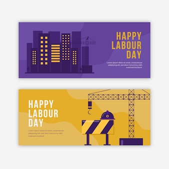Banners horizontales del día del trabajo plano