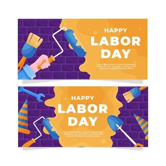 Banners horizontales del día del trabajo