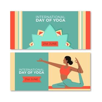 Banners horizontales de día de yoga de diseño plano