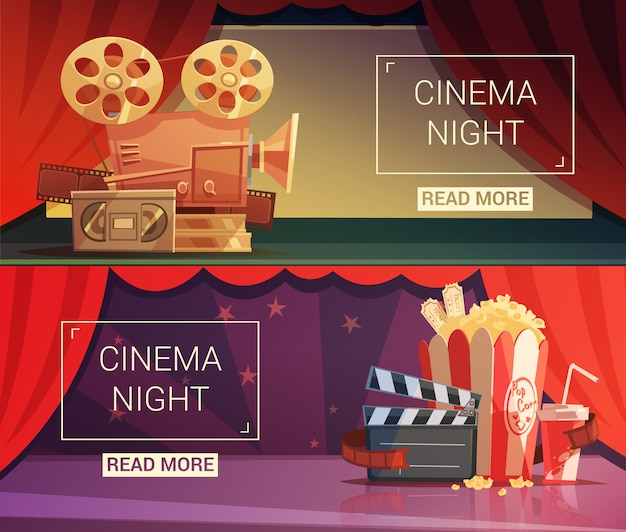 Banners horizontales de dibujos animados de cine