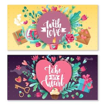 Banners horizontales de dibujos animados de día de san valentín. san valentín dos pancartas horizontales de saludo con flores y corazones en estilo decorativo. colores y matices brillantes.