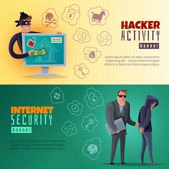 Banners horizontales de dibujos animados hacker
