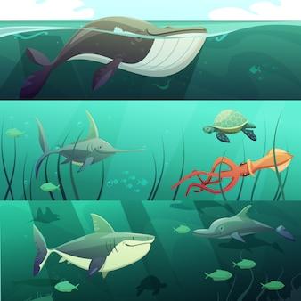 Banners horizontales de dibujos animados retro de vida marina bajo el agua con tortugas gigantes delfines de peces de tiburón es
