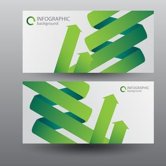 Banners horizontales digitales con flechas de cinta curva verde
