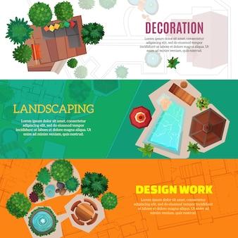 Banners horizontales de diseño de paisaje