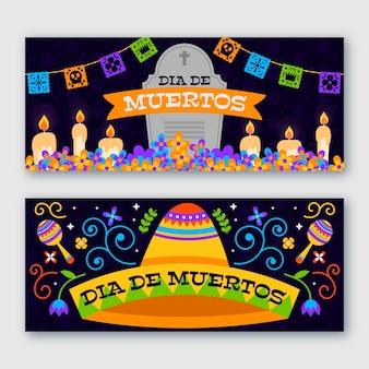 Banners horizontales de diseño plano del día de los muertos.