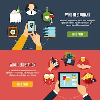 Banners horizontales de diseño plano con restaurante de vinos e iconos de degustación aislados ilustración vectorial