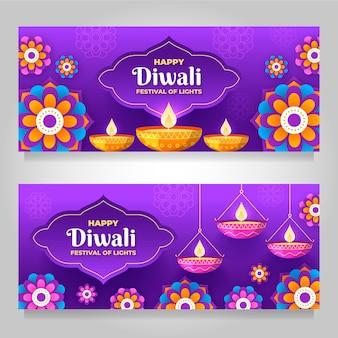 Banners horizontales de diwali con llama