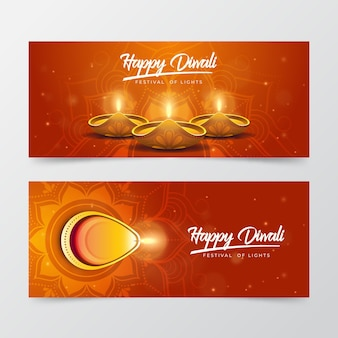 Banners horizontales de diwali con velas
