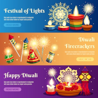 Banners horizontales de diwali
