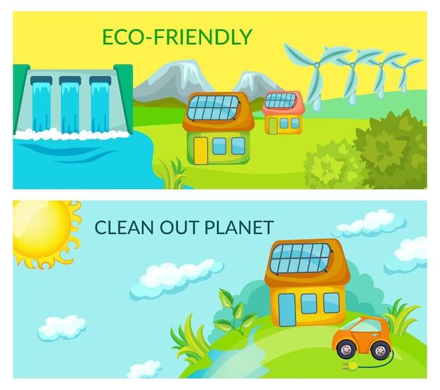 Banners horizontales de ecología de dibujos animados