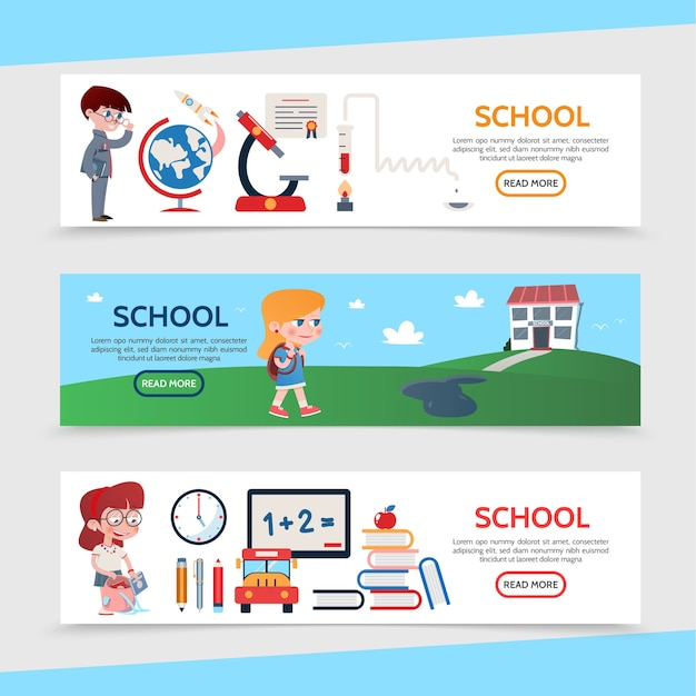 Banners horizontales de educación plana