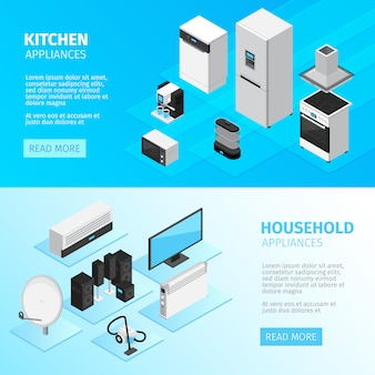 Banners horizontales de electrodomésticos con equipamiento de cocina y dispositivos digitales y electrónicos.