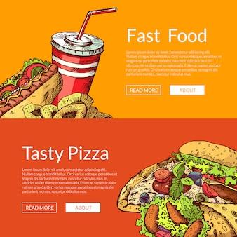 Banners horizontales con elementos de comida rápida color dibujados a mano