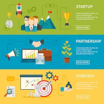 Banners horizontales de emprendimiento