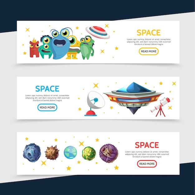 Banners horizontales espaciales con lindos monstruos extraterrestres divertidos, nave espacial ovni, telescopio satélite