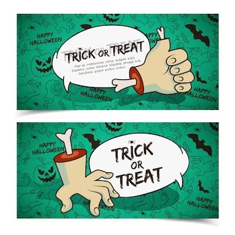 Banners horizontales espeluznantes de halloween con gestos de brazo de zombie de nube de discurso