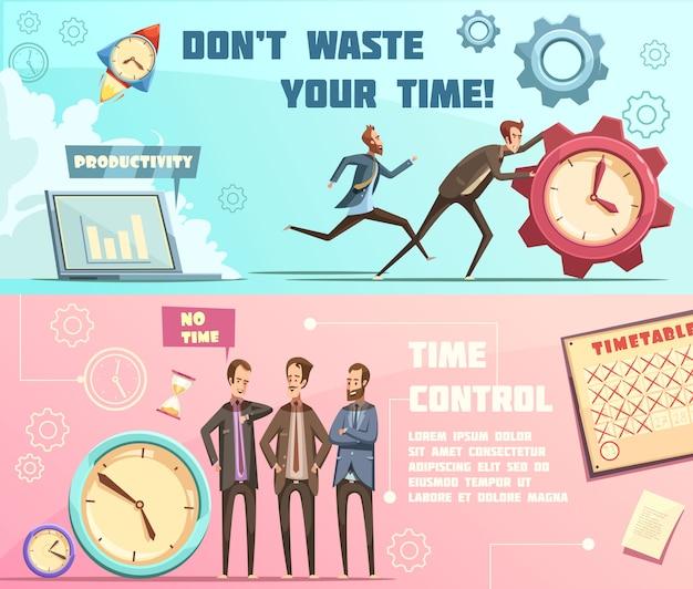 Banners horizontales en estilo retro de dibujos animados con gestión del tiempo que incluye planificación y productividad efectivas