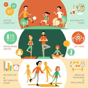 Banners horizontales de estilo de vida saludable y activo