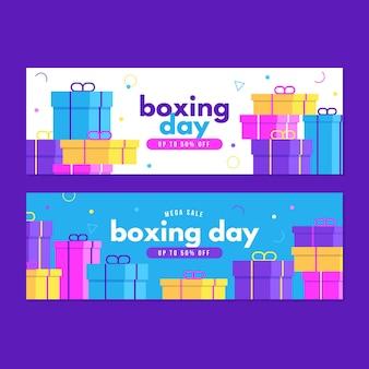 Banners horizontales de eventos del día del boxeo