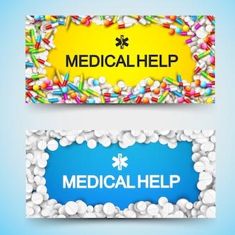 Banners horizontales de farmacia con inscripción de ayuda médica y cápsulas de píldoras de drogas