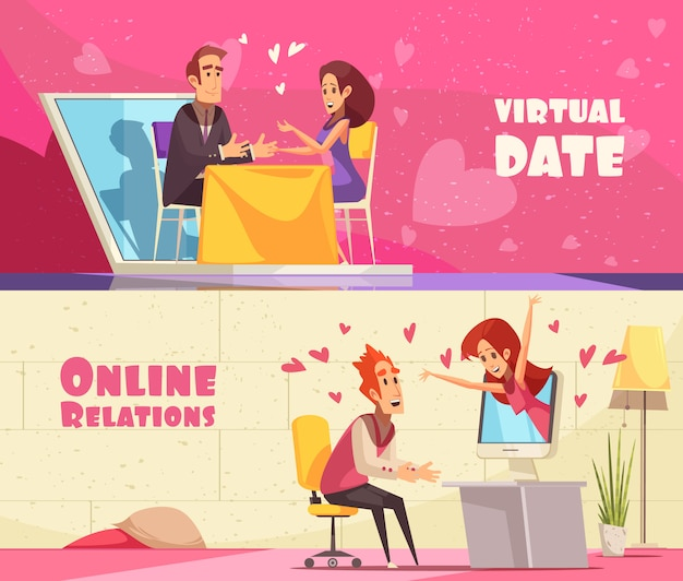Banners horizontales de fecha virtual
